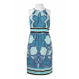 Halter Neck, Racerback Banded Waist, Multi Print Jersey Dress