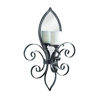 Gallery of Light Fleur de Lis Metal Candle Sconce with Mirror, Pack of 1