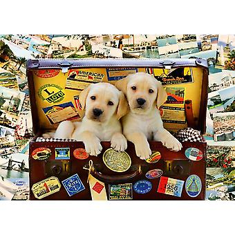Bluebird Two Travel Puppies Jigsaw Puzzle (1000 Pieces)