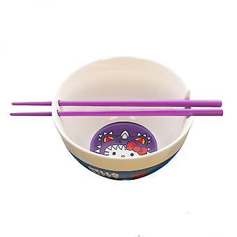 Hello Kitty Chibi Kaiju Keramisk Ramen Bowl med spisepinner