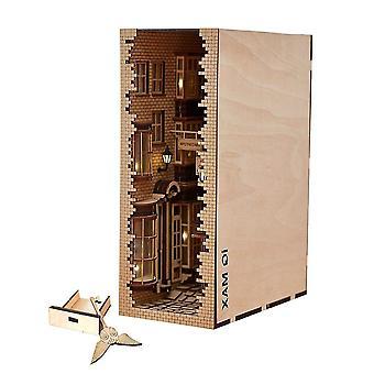 Interlocking blocks japanese style street rear lane bookcase diy model bookshelf puzzle game toys|model building kits