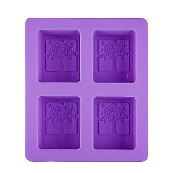 Kake panner former 4 hull firkantet såpe mold lilla