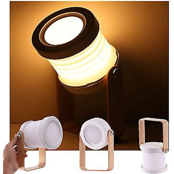 Stolní lampa, přenosné skládací teleskopické noční světlo, led čtecí lampa s dřevěnou rukojetí, jas na 3 úrovních