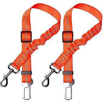 Juego de 2 cinturones de seguridad para perros, con absorción de impactos y mosquetón elástico ajustable para perros Arnés de seguridad superior para todos los perros y gatos, naranja