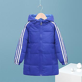 Sötétkék gyermek kabát gyermek hosszú kabát fiúk és lányok pamut kabát