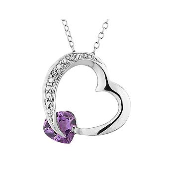Amethyst Heart Pendant Necklace with Diamond Accent 3/4  Carat (ctw) in Sterling Silver with Chain
