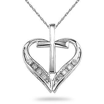Croix et pendentif coeur diamant, en or blanc 14K