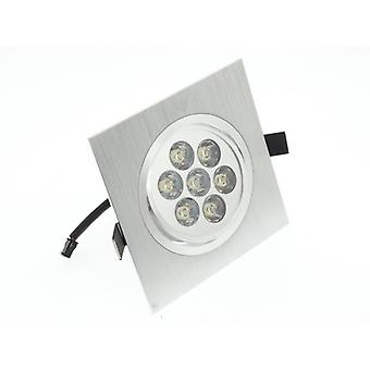 I LumoS High Quality Epistar 7 Watts Silver Square Aluminium Pure White LED Tiltable Recessed Spot Down light