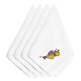 Thanksgiving frugt broderet servietter sæt af 4