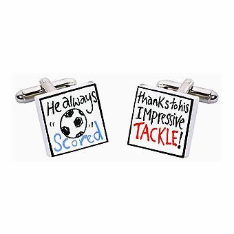 Graças a seu Tackle abotoaduras por Sonia Spencer, na apresentação de caixa de presente. Futebol