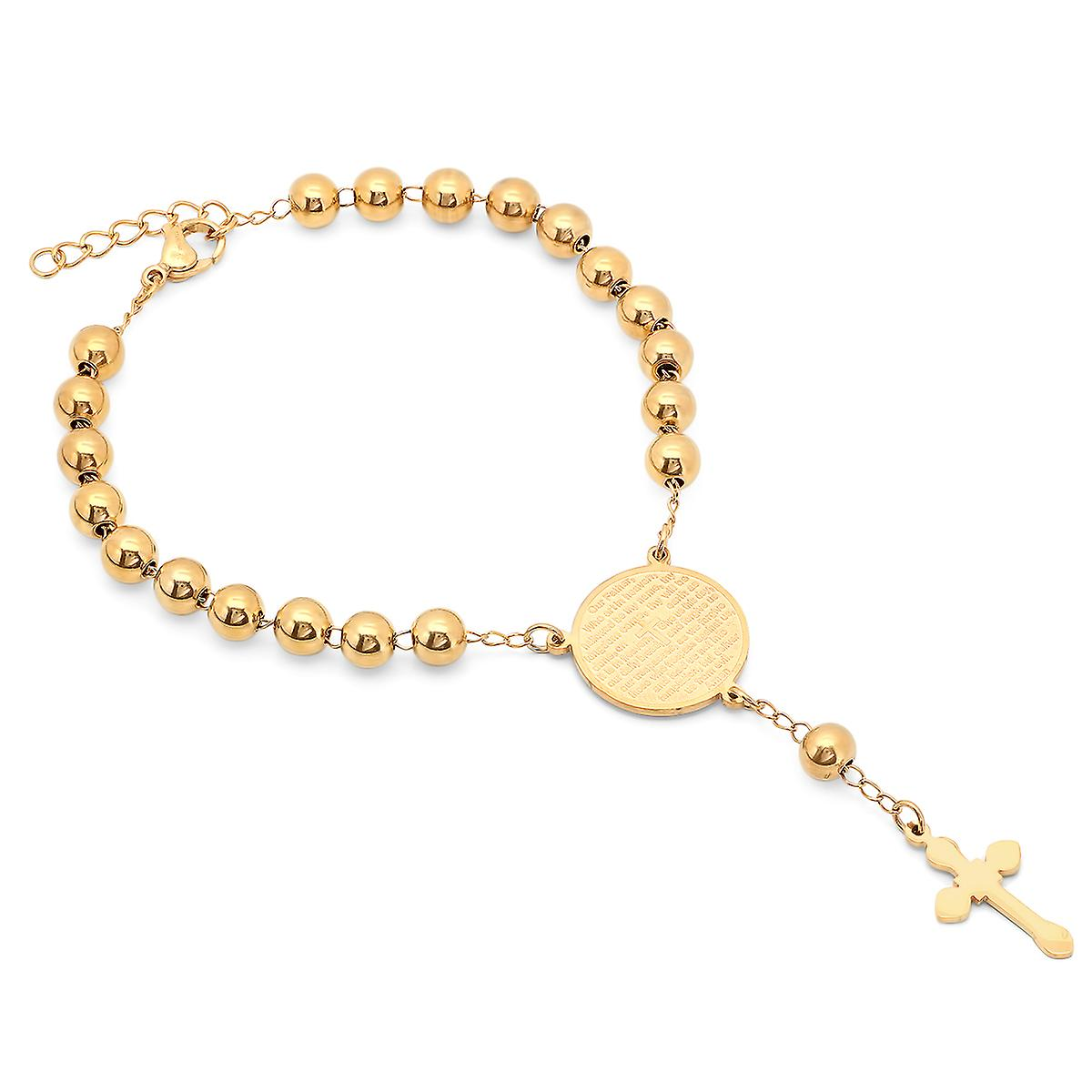 18K Gold Plated Stainless Steel Lord'S Prayer Rosary Bracelet