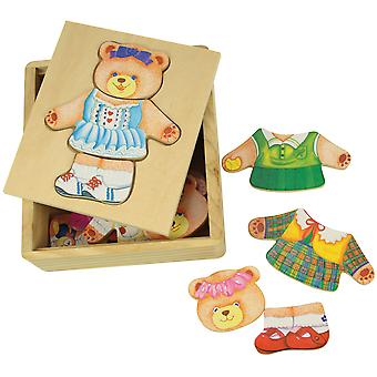 Bigjigs Toys Wooden Mrs Bear Dress Up Jigsaw Puzzle Chunky Mix Match