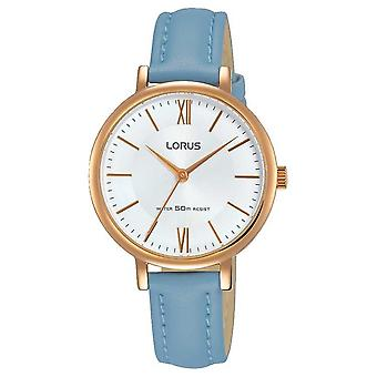 Lorus Womans Sunray Dial Soft Blue Leather Strap RG264LX5 Watch