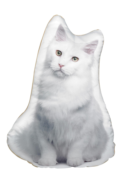 Adorable white cat shaped cushion