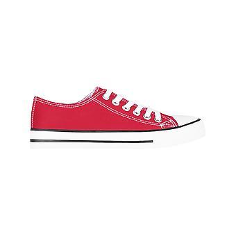 KRISP Women Plain Canvas Low Top Trainers Fashion Lace Up Sneaker Pumps Flat Shoes 3-8