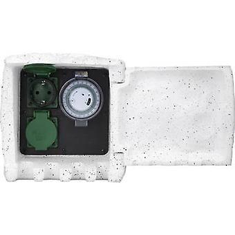 Renkforce 1168583 Odporny na warunki atmosferyczne pasek gniazda (+ timer) 2x Kamienny szary z timerem, kamienny wygląd