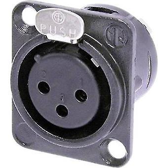 Neutrik NC3FD-L-taske-1 XLR stik ærme socket, lige ben antal stifter: 3 sort 1 computer(e)