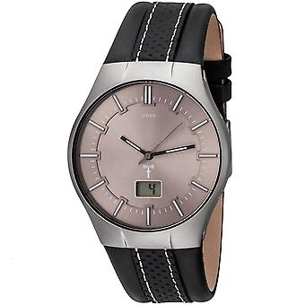 JOBO men's wristwatch radio radio clock stainless steel leather strap black mens watch date