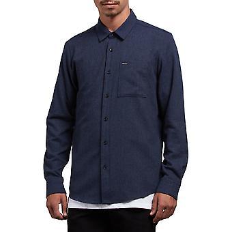 Volcom Caden Solid Long Sleeve Shirt in Midnight Blue
