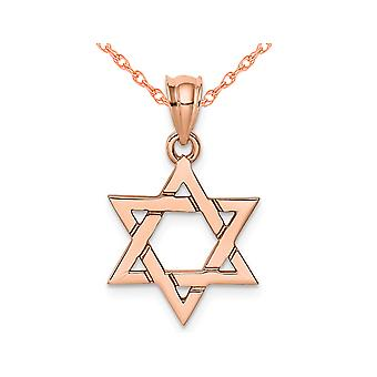 14K Rose Pink Gold Polished Star Of David Pendant Necklace with Chain