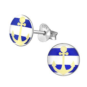 Anchor - 925 Sterling Silver Colourful Ear Studs - W35171x