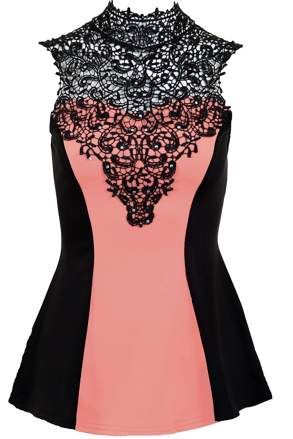 Ladies Sleeveless Crochet Studded Neck Contrast Tie Back Women's Flare Top