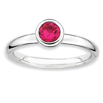 925 Sterling Silver Bezel Polished Rhodium plaqué Stackable Expressions Low 5mm Round Cr. Ruby Ring Jewelry Gifts for Wo