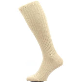 Pantherella Laburnum Rib Over de kalf Merino wollen sokken - lichte kaki