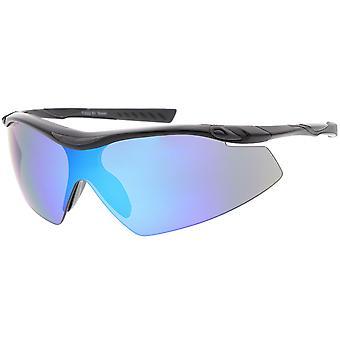Semi bez oprawek Wrap sportowe okulary przeciwsłoneczne lustro Tarcza obiektywu 65mm