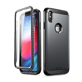 iPhone Xs Max asia [UB uus sarja] koko kehon suojaava sisäänrakennettu näyttö suojelija Dual Layer kattaa 2018 (musta)