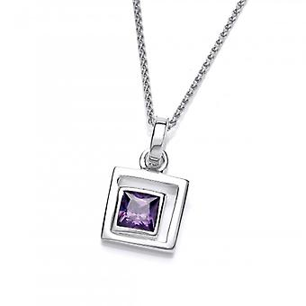 Cavendish French Silver and Amethyst CZ Square in Square Pendant without Chain