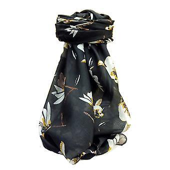 桑树丝绸当代广场围巾罗哈黑由普什米娜 & 丝绸