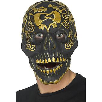 Deluxe Masquerade Skull Mask, Gold, Foam Latex, with Two Piece Separate Moving