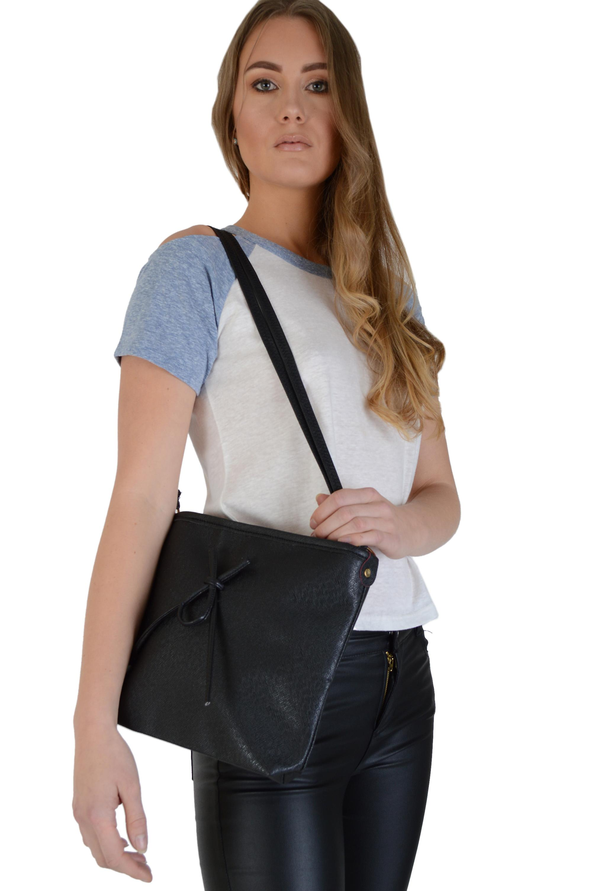 Lovemystyle Black Slim Messenger Bag With Bow Front