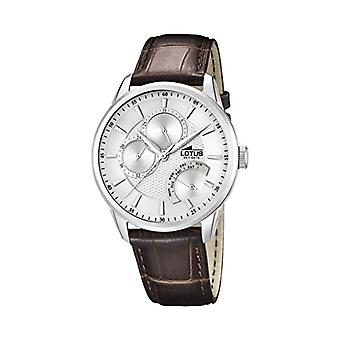 Lotus-quartz with analog Display and black leather strap, color: Brown, 1 15974