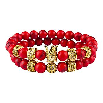 Bracelet-Smooth beads and crown, red