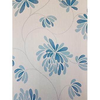 Glitter Floral Wallpaper Teal Off White Shimmer Flower Textured Debona Selena