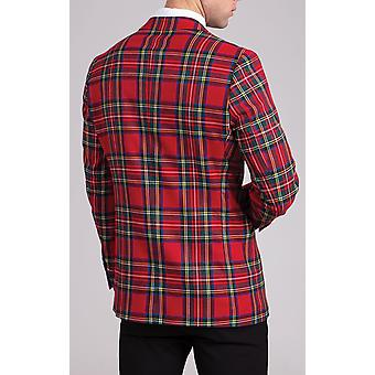 Dobell mens rode tartan smoking jas slim fit contrast Peak revers