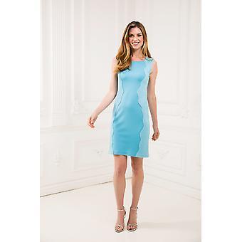 Jacquard lys blå blyanten kjole