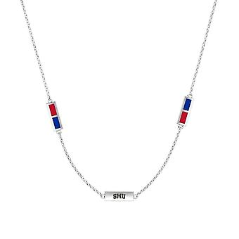 Southern Methodist University Sterling Silver Engraved Triple Station Necklace In Red & Blue