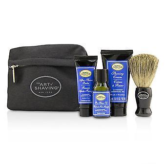 Die Kunst der Rasur Starterkit - Lavendel: Pre Shave Öl + Rasierschaum + nach Shave Balm + Pinsel + Tasche - 4pcs + 1 Beutel