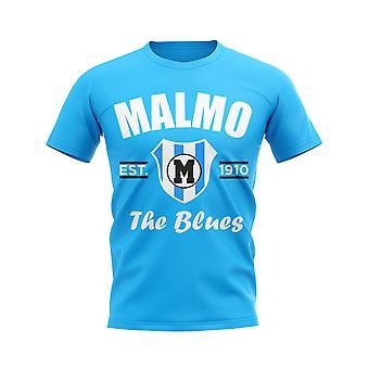 Malmö perustettiin jalka pallo T-paita (taivas)