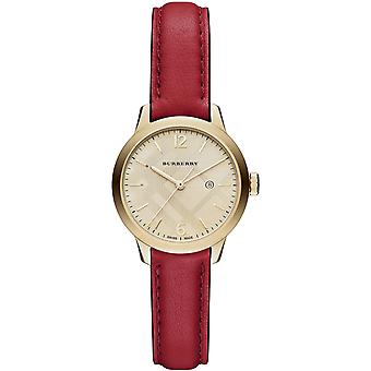Burberry Bu10102 The Classic Round Red Leather Strap Ladies Watch