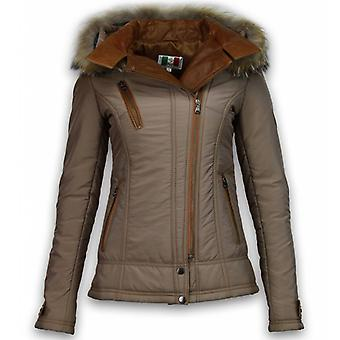 Fur coats - Winter coat Short - 3 Zippers With Leather piece - Brown