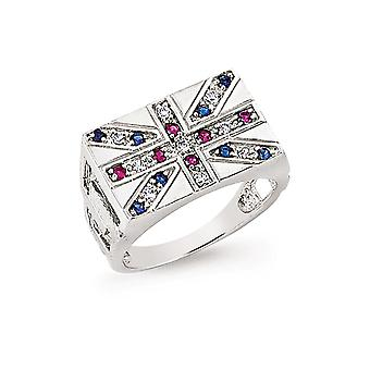 Jewelco London Men's Rhodium Plated Silver Blue Red and White Round Cubic Zirconia Union Jack Flag Signet Ring