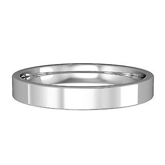 Κοσμήματα Λονδίνο 18ct λευκό χρυσό-3mm βασική επίπεδη-δικαστήριο μπάντα δέσμευση/δαχτυλίδι γάμου