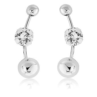 Jewelco London 9ct White Gold Cubic Zirconia Tri Ball Stud Earrings