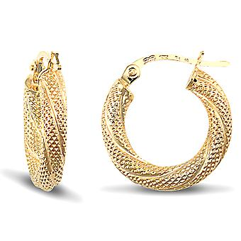 Jewelco London Ladies 9ct Yellow Gold Snake Skin Twisted 3mm Hoop Boucles d'oreilles 16mm