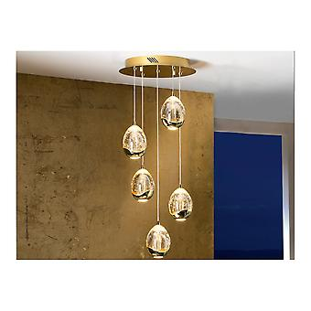 Schuller Spanish Gold 5 LED Ceiling Pendant Lamp With Champagne Orbs (Dimmable)