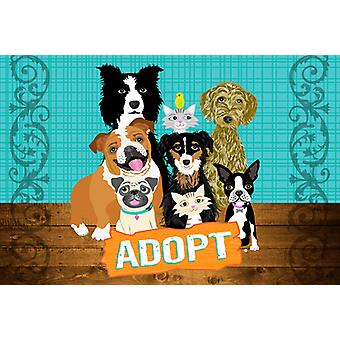 Carolines Treasures  VHA3007PLMT Adopt Pets Adoption Fabric Placemat